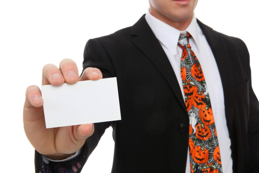 Business Man with Ghost card